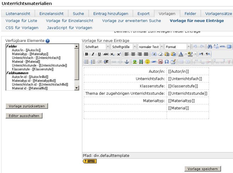Datenbanken und -Felder einrichten in moodle | das Informatische und ...