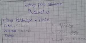 """Ein Ausschnitt der bearbeiteten Aufgabe """"Berechne die Zeit von deinem Schulort nach Berlin bei 110 km/h"""""""