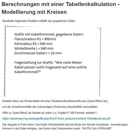 Mathe-Unterricht] Tabellenkalkulation und Kreisberechnungen | das ...